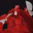 Красная дама с белыми веерами